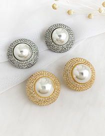 Fashion Silver Alloy Diamond Round Pearl Earrings