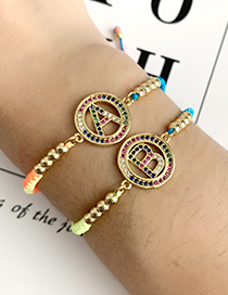 Fashion Color Z Copper Inlaid Zircon Braided String Beaded Letter Bracelet