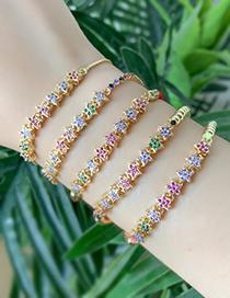 Fashion Gold Copper Inlaid Zircon Pentagram Bracelet