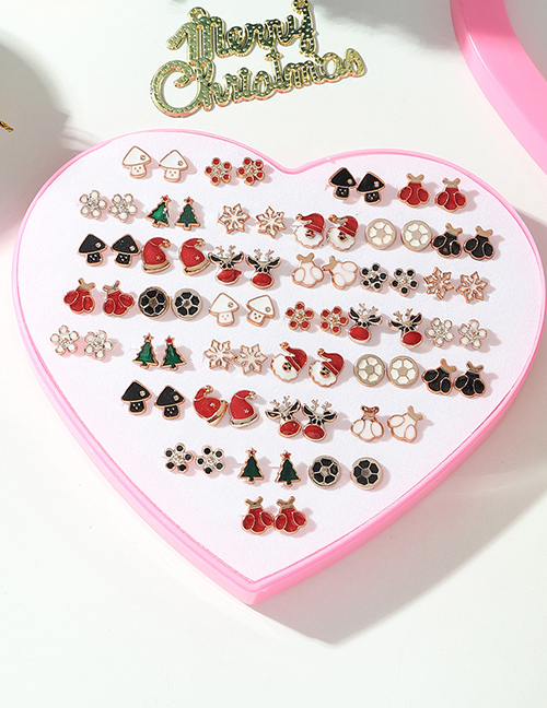 Fashion Color Alloy Dripping Christmas Earrings Set
