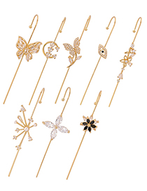 Fashion Silver Black Flower Pierced Diamond-studded Butterfly Geometry Surrounds The Auricle Real Gold Plated Ear Bone Clip