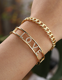 Fashion Golden Copper Inlaid Zircon Letter Love Bracelet