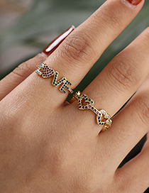 Fashion Color Copper Inlaid Zircon Love Ring