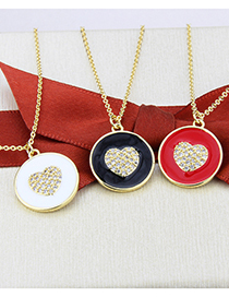 Fashion Gold-plated Black Round Oil Drop Gold-plated Zirconium Heart Pendant Necklace