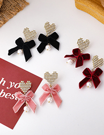 Fashion Black Velvet Bow Diamond Heart Alloy Earrings