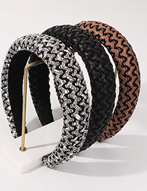 Fashion Brown Pu Braided Diamond Sponge Broad-side Headband