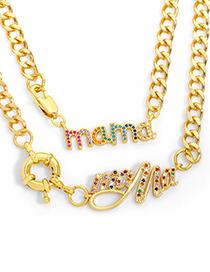 Fashion C Diamond Letter Necklace Mama