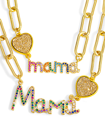 Fashion B Letter Mama Love Necklace With Colored Diamonds