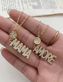 Fashion Gold Color Copper Inlaid Zircon Four-leaf Clover Letter Mama Necklace