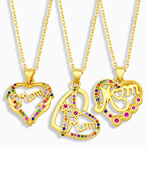 Fashion D Letter Mom Heart Necklace