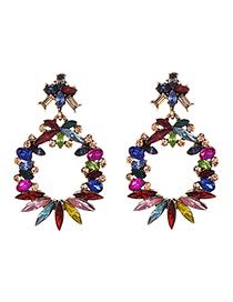 Fashion Color Alloy Diamond Round Earrings