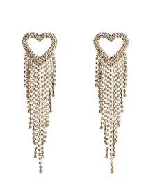 Fashion Gold Love-shaped Acrylic Studded Tassel Earrings