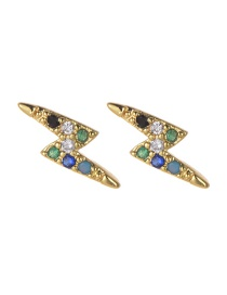Fashion Gold Copper Inlaid Zircon Lightning Stud Earrings