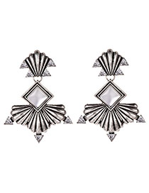Fashion Ancient Silver Alloy Diamond-studded Shell Stud Earrings