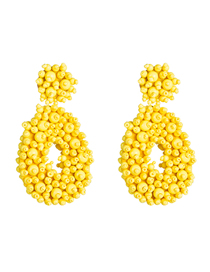 Fashion Yellow Velvet Compartment Thickening Drop-shaped Rice Beads Earrings