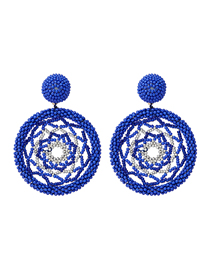 Fashion Blue Dreamcatcher Round Rice Beads Woven Earrings