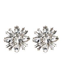 Fashion White Floral Diamond Earrings