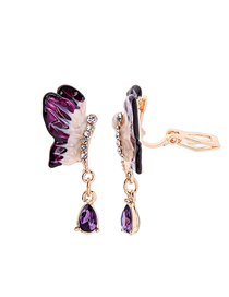Fashion Purple Ear Clip 925 Silver Needle Butterfly Drop Diamond Earrings