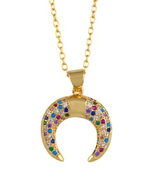 Fashion Golden Horn Cactus Inlaid Zircon Necklace