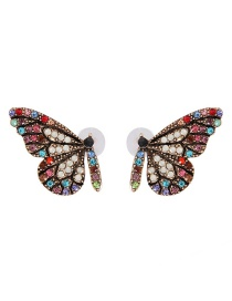 Fashion Pink Butterfly Glass Drill Earrings