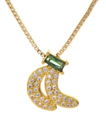 Fashion Gold Copper Inlaid Zircon Banana Necklace