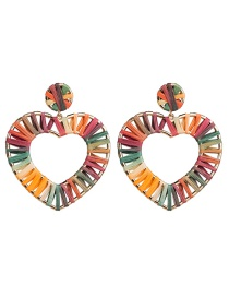 Fashion Bright Color Love Heart Shaped Lafite Earrings
