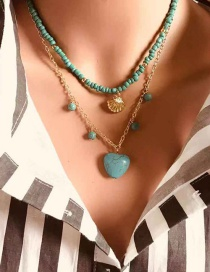 Fashion Turquoise Love Rice Beads Stone Necklace