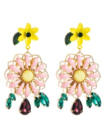 Fashion Color S925 Silver Needle Multi-layer Alloy Drop Oil Floral Acrylic Diamond Earrings