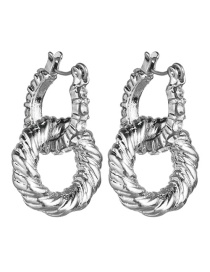 Fashion Silver Geometric Multilayer Ring Studded Acrylic Earrings