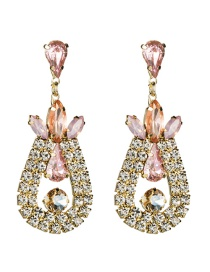 Fashion Pink Multi-layer Drop-shaped Diamond Earrings