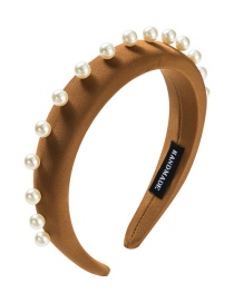 Fashion Brown Single Row Pearl Fabric Headband