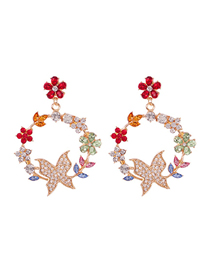 Fashion Color Alloy Diamond Flower Butterfly Stud Earrings