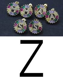 Fashion Color Z Cubic Zirconia Small Letter Stud Earrings