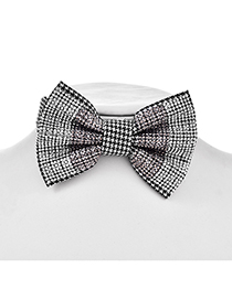 Fashion Black Fabric Houndstooth Bow Collar