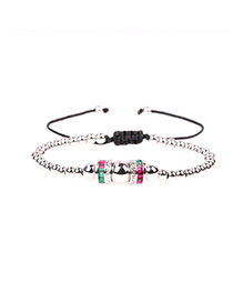 Fashion Silver Adjustable Men's Bracelet With Solid Copper Beads And Diamonds