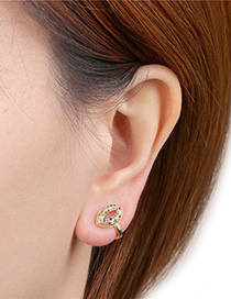 Fashion Golden C-shaped Ear Clip With Diamond Mouth