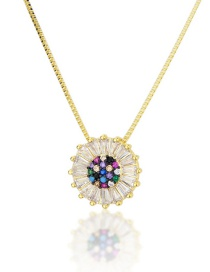 Fashion Gold-plated Gold-plated Round Brass Necklace With Diamonds
