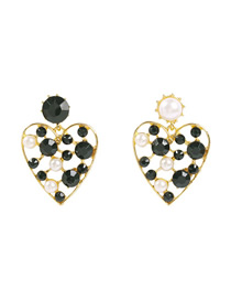 Fashion Black Love Heart Pierced Earrings With Diamonds