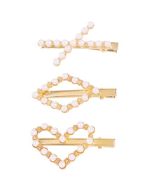 Fashion Gold Color Prismatic Three-piece Suit Pearl Love Geometric Hollow Duckbill Clip Set