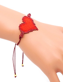 Fashion Red Rice Beads Hand-woven Love Bracelet