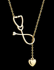 Fashion Golden Stethoscope Love Hollow Necklace
