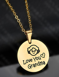 Fashion Golden Portrait Lettering Lettering Dripping Oil Necklace