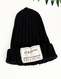 Fashion Black Knitted Letters Children Hat