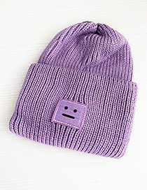 Fashion Purple Knitted Emoji Children Hat