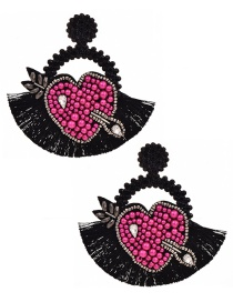 Fashion Black Resin Rice Pearl Rhinestone Love Round Tassel Stud Earrings