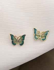 Fashion Blue Dripping Alloy Butterfly Earrings