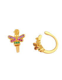 Fashion Golden Bee Earrings With Color Diamond Alloy