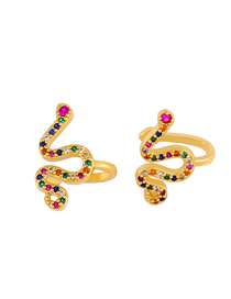 Fashion Golden Snake-shaped Diamond Alloy Pierced Ear Clips