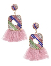 Fashion Light Pink Geometric Tassel Earrings With Alloy Diamonds
