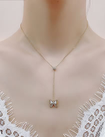 Fashion Golden Shell Butterfly Micro-set Zircon Pullable Necklace